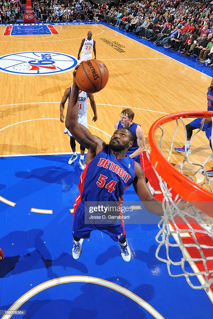 Jason Maxiell #54 of the Detroit Pistons grabs the rebound against the Philadelphia 76ers on December 10, 2012 at the Wells Fargo Center in Philadelphia, Pennsylvania.