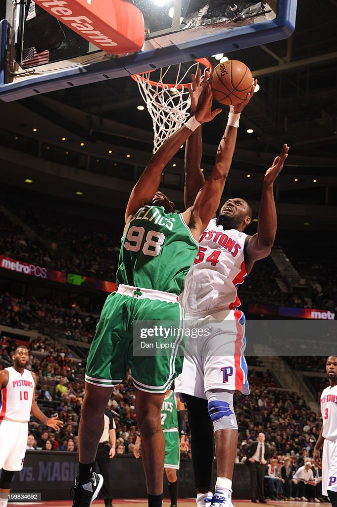<a gi-track='captionPersonalityLinkClicked' href=/galleries/search?phrase=Jason+Maxiell&family=editorial&specificpeople=651723 ng-click='$event.stopPropagation()'>Jason Maxiell</a> #54 of the Detroit Pistons grabs the rebound against the Boston Celtics on January 20, 2013 at The Palace of Auburn Hills in Auburn Hills, Michigan.