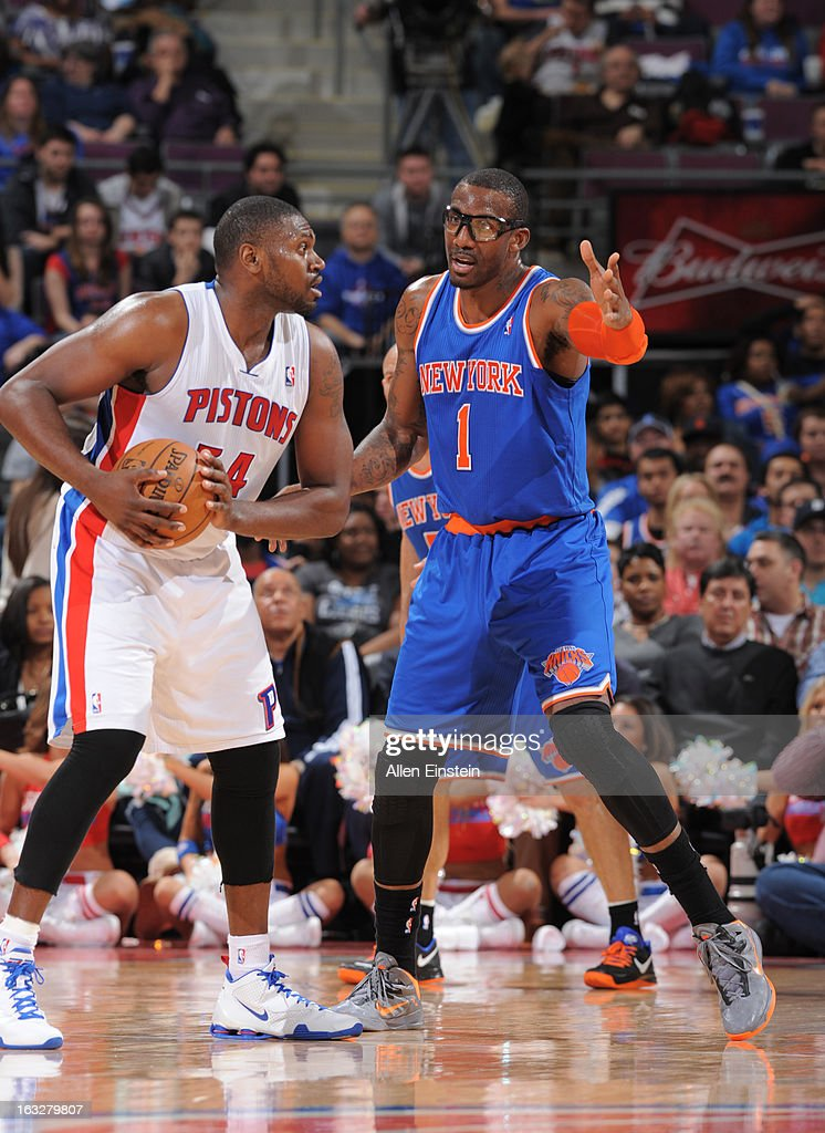 Jason Maxiell #54 of the Detroit Pistons protects the ball from Amar'e Stoudemire #1 of the New York Knicks during the game between the Detroit Pistons and the Atlanta Hawks on March 6, 2013 at The Palace of Auburn Hills in Auburn Hills, Michigan.