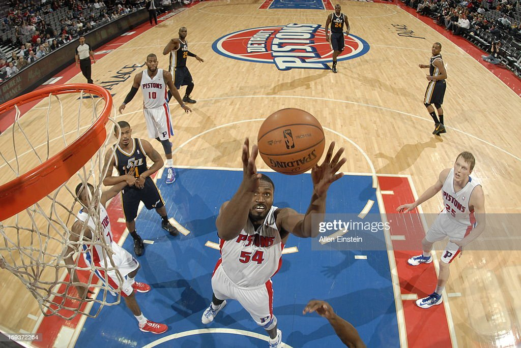 <a gi-track='captionPersonalityLinkClicked' href=/galleries/search?phrase=Jason+Maxiell&family=editorial&specificpeople=651723 ng-click='$event.stopPropagation()'>Jason Maxiell</a> #54 of the Detroit Pistons rebounds against the Utah Jazz on January 12, 2013 at The Palace of Auburn Hills in Auburn Hills, Michigan.