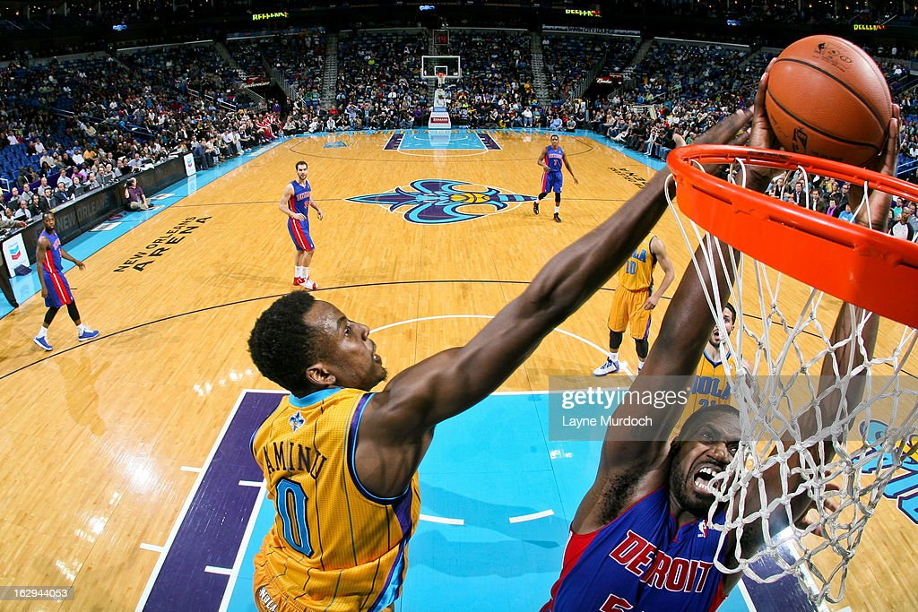 Jason Maxiell #54 of the Detroit Pistons rises for a dunk against Al-Farouq Aminu #0 of the New Orleans Hornets on March 1, 2013 at the New Orleans Arena in New Orleans, Louisiana.