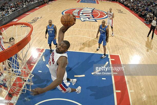 Jason Maxiell of the Detroit Pistons rises for a dunk against the Orlando Magic on January 22 2013 at The Palace of Auburn Hills in Auburn Hills...