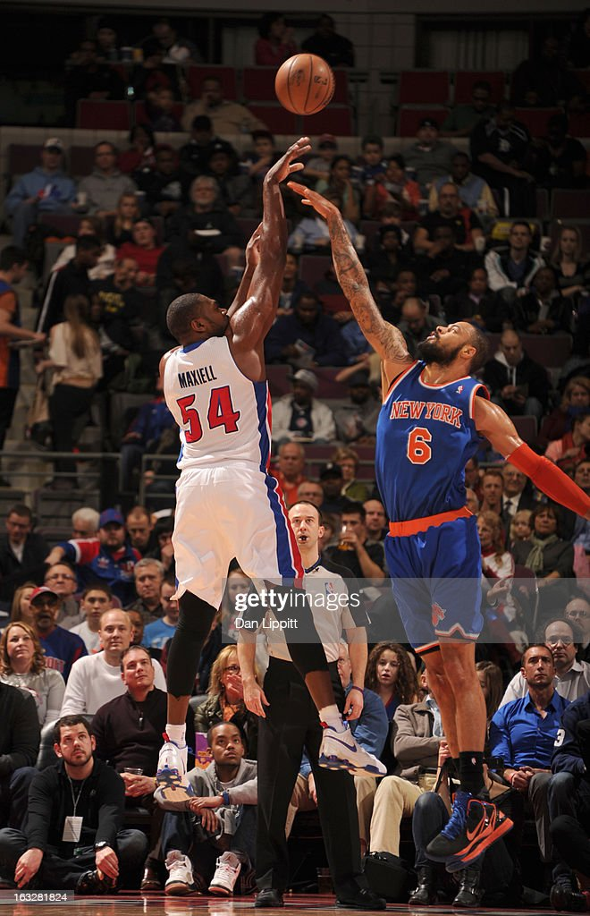 Jason Maxiell #54 of the Detroit Pistons sends the ball against J.R. Smith #8 of the New York Knicks during the game between the Detroit Pistons and the Atlanta Hawks on March 6, 2013 at The Palace of Auburn Hills in Auburn Hills, Michigan.