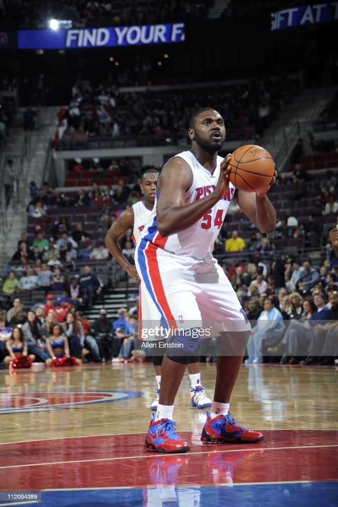 Jason Maxiell of the Detroit Pistons shoots a free throw against the Milwaukee Bucks in a game on April 8 2011 at The Palace of Auburn Hills in...