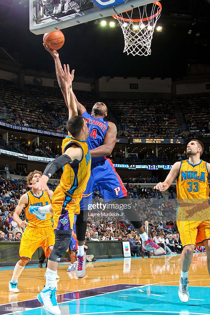 <a gi-track='captionPersonalityLinkClicked' href=/galleries/search?phrase=Jason+Maxiell&family=editorial&specificpeople=651723 ng-click='$event.stopPropagation()'>Jason Maxiell</a> #54 of the Detroit Pistons shoots a layup against <a gi-track='captionPersonalityLinkClicked' href=/galleries/search?phrase=Austin+Rivers&family=editorial&specificpeople=7117574 ng-click='$event.stopPropagation()'>Austin Rivers</a> #25 of the New Orleans Hornets on March 1, 2013 at the New Orleans Arena in New Orleans, Louisiana.