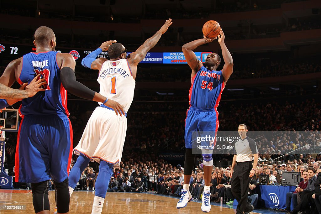 Jason Maxiell #54 of the Detroit Pistons shoots against Amar'e Stoudemire #1 of New York Knicks on February 4, 2013 at Madison Square Garden in New York City.