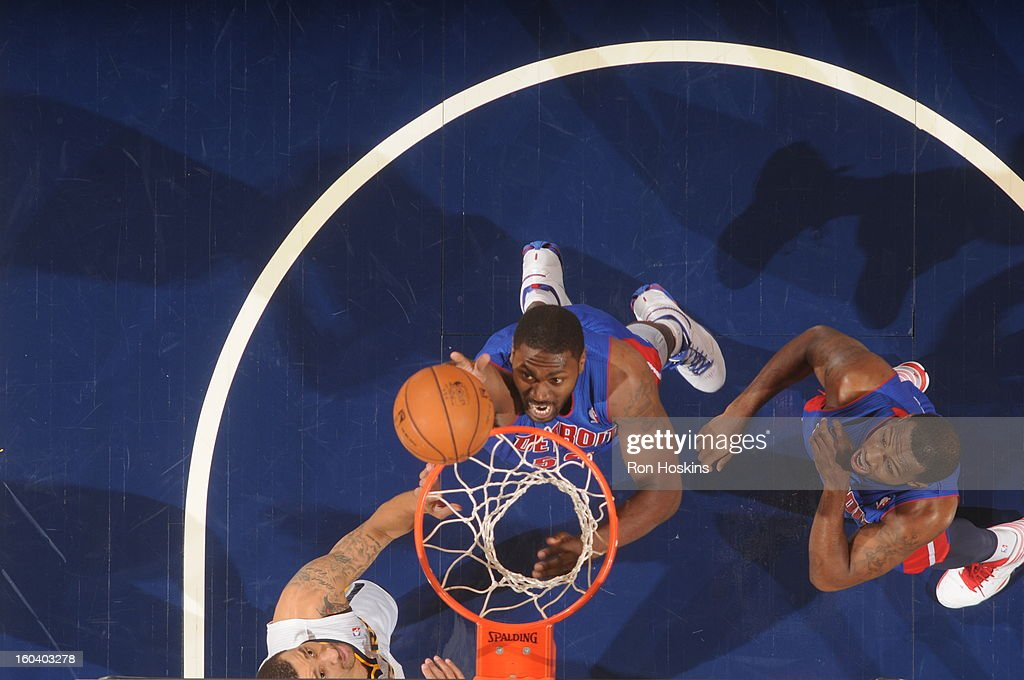 <a gi-track='captionPersonalityLinkClicked' href=/galleries/search?phrase=Jason+Maxiell&family=editorial&specificpeople=651723 ng-click='$event.stopPropagation()'>Jason Maxiell</a> #54 of the Detroit Pistons shoots against the Indiana Pacers on January 30, 2013 at Bankers Life Fieldhouse in Indianapolis, Indiana.