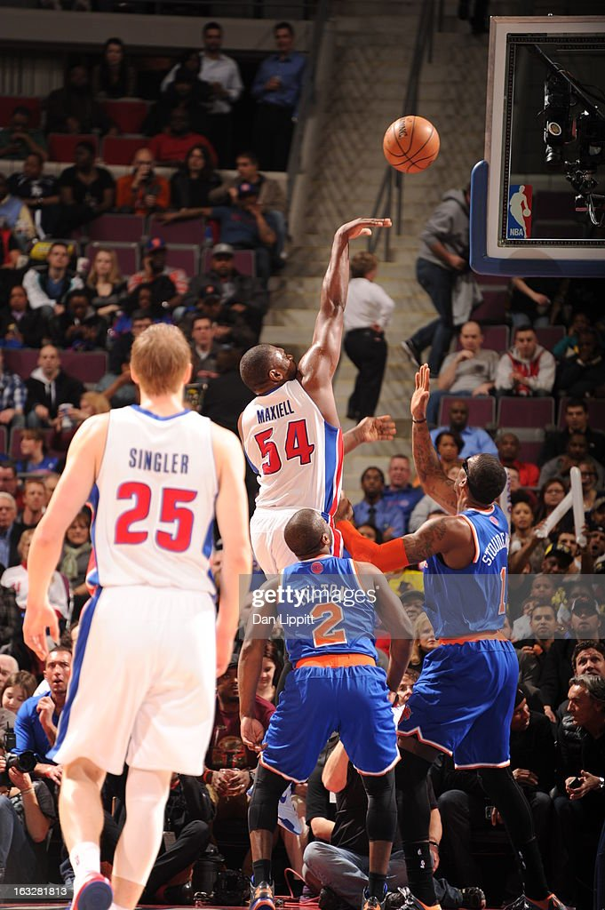 Jason Maxiell #54 of the Detroit Pistons shoots the ball during the game between the Detroit Pistons and the Atlanta Hawks on March 6, 2013 at The Palace of Auburn Hills in Auburn Hills, Michigan.