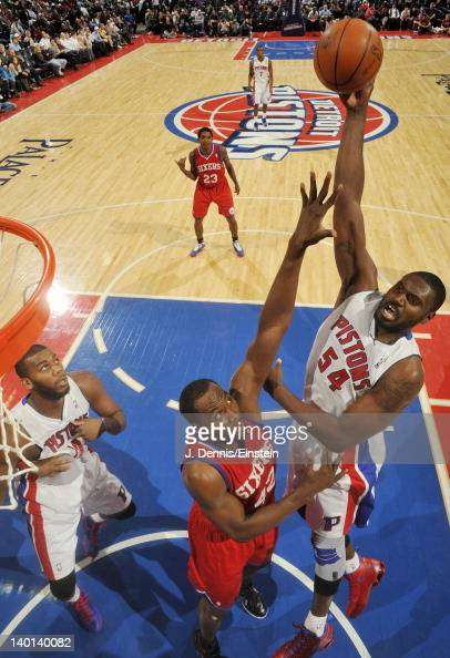 Jason Maxiell of the Detroit Pistons takes a jump shot over Elton Brand of the Philadelphia 76ers during the game on February 28 2012 at The Palace...