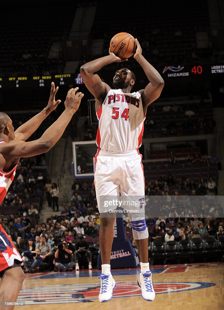 <a gi-track='captionPersonalityLinkClicked' href=/galleries/search?phrase=Jason+Maxiell&family=editorial&specificpeople=651723 ng-click='$event.stopPropagation()'>Jason Maxiell</a> #54 of the Detroit Pistons takes a short range shot against the Washington Wizards during the game on December 21, 2012 at The Palace of Auburn Hills in Auburn Hills, Michigan.