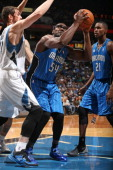 Jason Maxiell of the Orlando Magic drives to the basket against the Minnesota Timberwolves during the season and home opening game on October 30 2013...