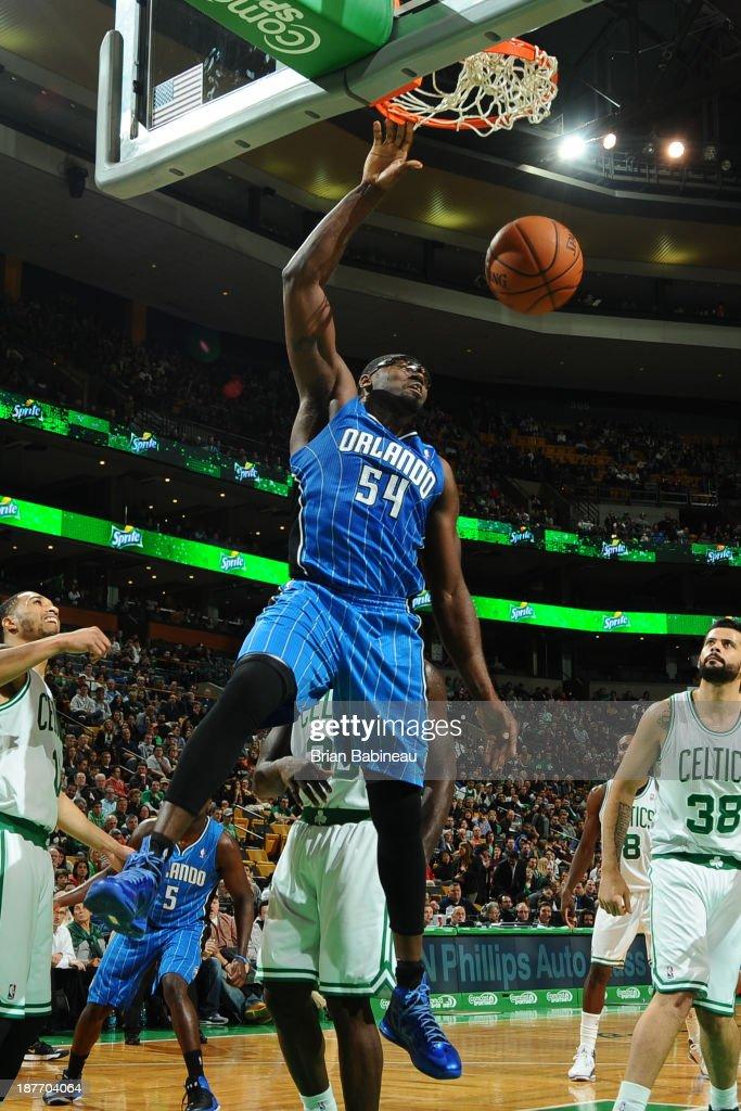 Jason Maxiell of the Orlando Magic dunks the ball against the Boston Celtics on November 1 2013 at the TD Garden in Boston Massachusetts NOTE TO USER...