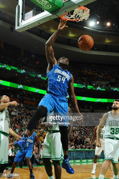 Jason Maxiell of the Orlando Magic dunks the ball against the Boston Celtics on November 1 2013 at the TD Garden in Boston Massachusetts NOTE TO USER...