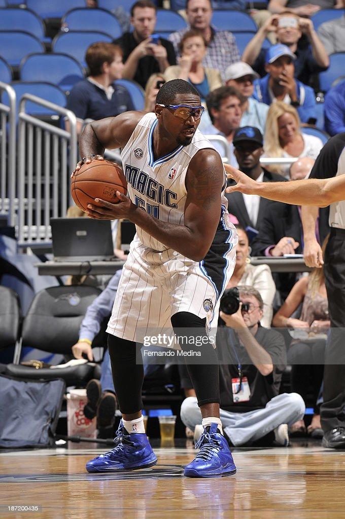 Jason Maxiell of the Orlando Magic looks to pass the ball against the Los Angeles Clippers during the game on November 6 2013 at Amway Center in...