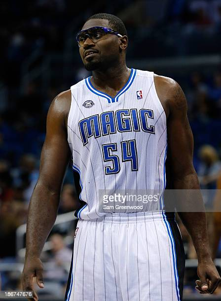 Jason Maxiell of the Orlando Magic waits for a foul shot during the game against the Brooklyn Nets at Amway Center on November 3 2013 in Orlando...