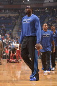 Jason Maxiell of the Orlando Magic warmsup against the Miami Heat during the game on November 20 2013 at Amway Center in Orlando Florida NOTE TO USER...