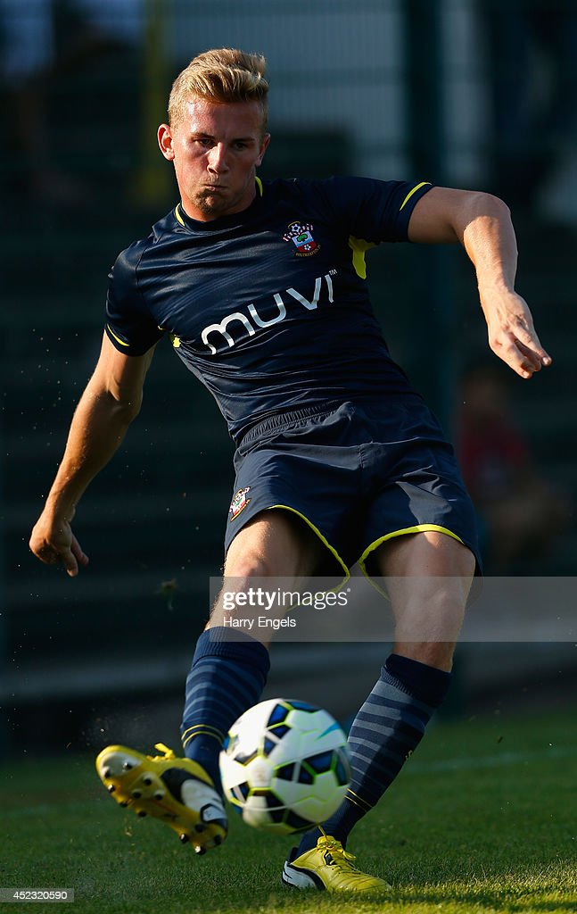 Jason McCarthy of Southampton in action during the pre-season friendly match between KSK Hasselt and Southampton at the Stedelijk Sportstadion on July 17, 2014 in Hasselt, Belgium.