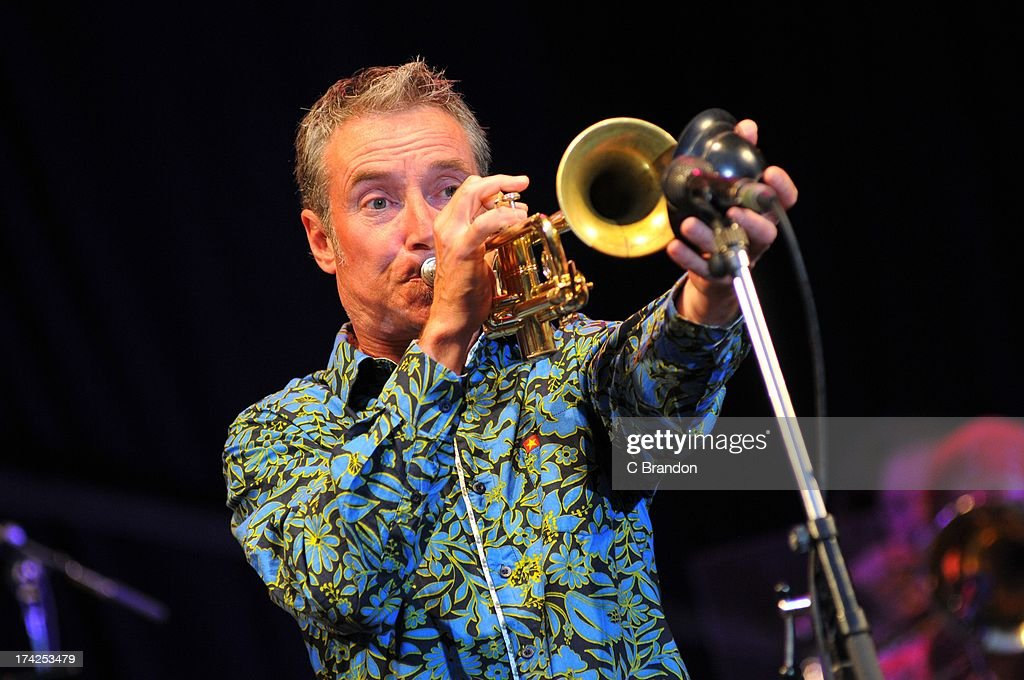 Jason McDermid of Jools Holland and his Rythm and Blues Orchestra performs on stage at Kew Gardens on July 12, 2013 in London, England.