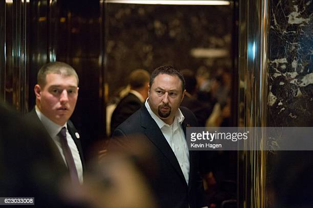 Jason Miller a senior advisor to Presidentelect Donald Trump arrives at Trump Tower on November 13 2016 in New York City The Trump transition team...