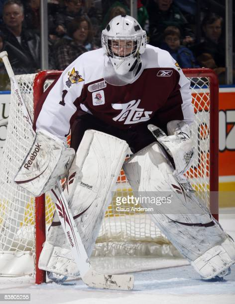 Jason Missiaen of the Peterborough Petes watches the play in a game against the London Knights on November 21 2008 at the John Labatt Centre in...
