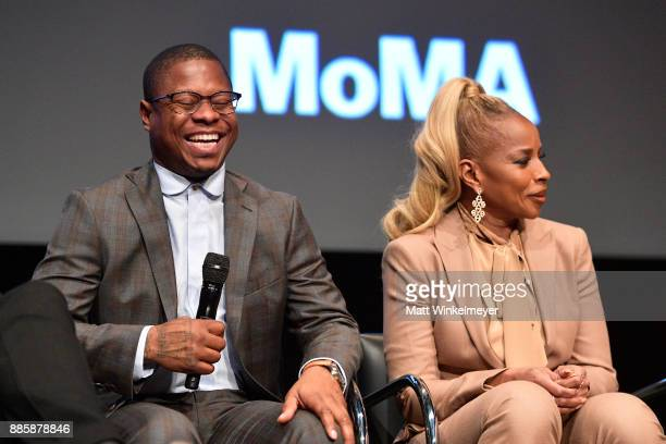 Jason Mitchell and Mary J Blige speak onstage during the Hammer Museum presents The Contenders 2017 'Mudbound' at Hammer Museum on December 4 2017 in...