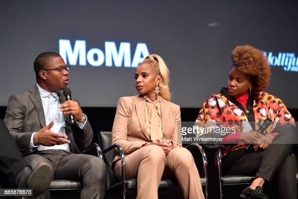 Jason Mitchell Mary J Blige and Dee Rees speak onstage during the Hammer Museum presents The Contenders 2017 'Mudbound' at Hammer Museum on December...