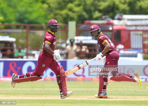 Jason Mohammed and Shai Hope of the West Indies 100 runs partnership during the 3rd and final ODI match between West Indies and Pakistan at Guyana...