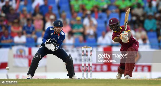 Jason Mohammed of the West Indies bats during the 2nd One Day International match between the West Indies and England at Sir Vivian Richards Cricket...