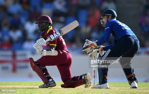 Jason Mohammed of the West Indies bats during the first One Day International between the West Indies and England at Sir Vivian Richards Cricket...