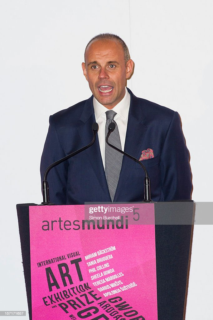 Jason Mohammed speaks as Teresa Margolles was today announced as the winner of the Artes Mundi 5 prize at the National Museum Cardiff by chair of the judging panel, Tim Marlow on November 29, 2012 in Cardiff, Wales. The Award ceremony was attended by all of the shortlisted artists as well as the first minister of Wales, Rt Hon Carwyn Jones AM. Teresa Margolles was chosen from the shortlist of seven international artists and their work is currently being shown at an exhibition at the museum that will close 31 January 2013.