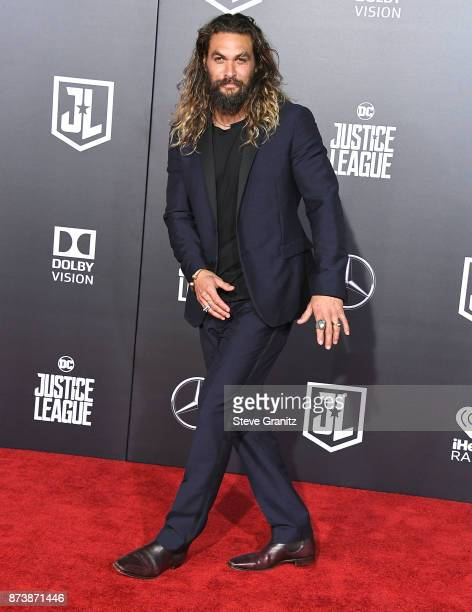 Jason Momoa arrives at the Premiere Of Warner Bros Pictures' 'Justice League' at Dolby Theatre on November 13 2017 in Hollywood California