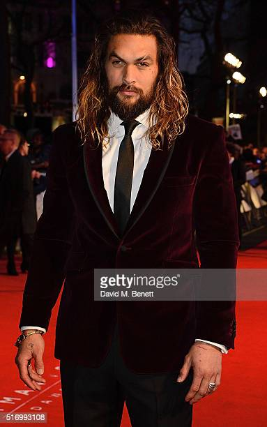 Jason Momoa attends the European Premiere of 'Batman V Superman Dawn Of Justice' at Odeon Leicester Square on March 22 2016 in London England