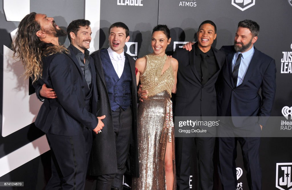 Jason Momoa, Henry Cavill, Ezra Miller, Gal Gadot, Ray Fisher and Ben Affleck arrive at the premiere of Warner Bros. Pictures' 'Justice League' at Dolby Theatre on November 13, 2017 in Hollywood, California.