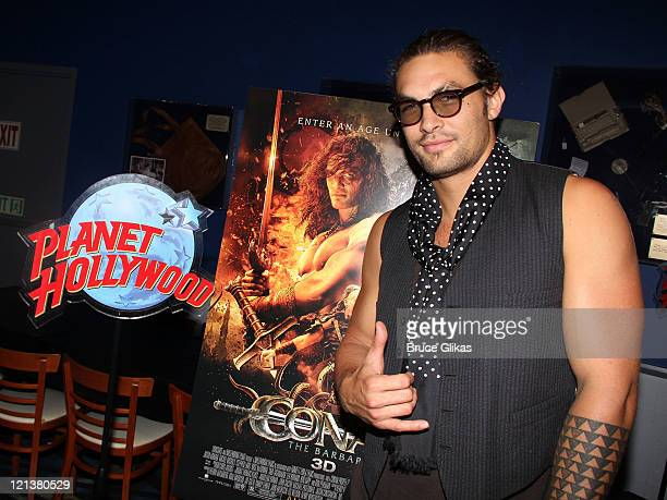Jason Momoa poses as he promotes 'Conan the Barbarian' at Planet Hollywood Times Square on August 18 2011 in New York City