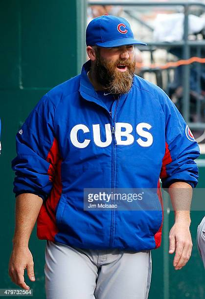 Jason Motte of the Chicago Cubs looks on before a game against the New York Mets at Citi Field on July 1 2015 in the Flushing neighborhood of the...