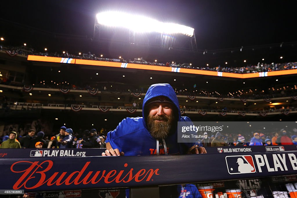 Jason Motte of the Chicago Cubs looks on from the dugout before Game 2 of the NLCS against the New York Mets at Citi Field on Sunday October 18 2015...