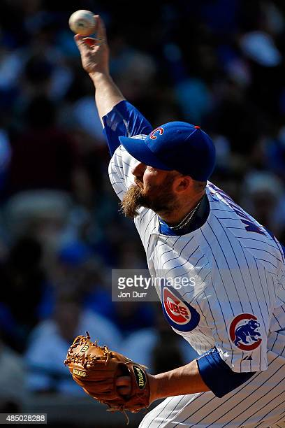 Jason Motte of the Chicago Cubs pitches against the Atlanta Braves during the eighth inning at Wrigley Field on August 23 2015 in Chicago Illinois...