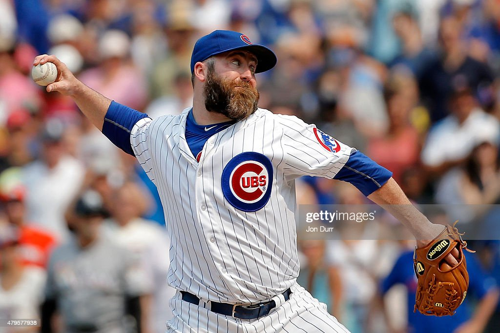 Jason Motte of the Chicago Cubs pitches against the Miami Marlins during the ninth inning at Wrigley Field on July 5 2015 in Chicago Illinois The...