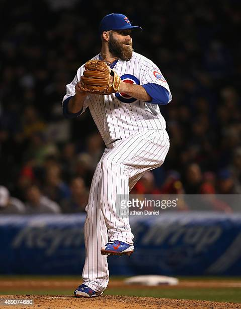 Jason Motte of the Chicago Cubs pitches against the St Louis Cardinals during the Opening Night game at Wrigley Field on April 5 2015 in Chicago...