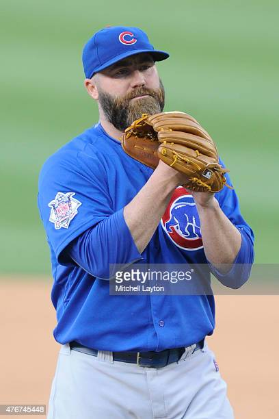 Jason Motte of the Chicago Cubs pitches during a baseball game against the Washington Nationals at Nationals Park on June 7 2015 in Washington DC The...