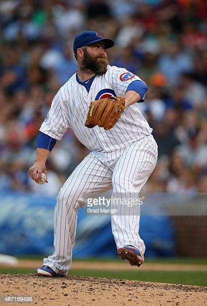 Jason Motte of the Chicago Cubs pitches during the game against the San Francisco Giants at Wrigley Field on Saturday August 8 2015 in Chicago...