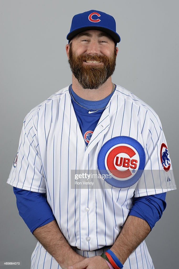 Jason Motte of the Chicago Cubs poses during Photo Day on Monday March 2 2015 at Sloan Park in Mesa Arizona