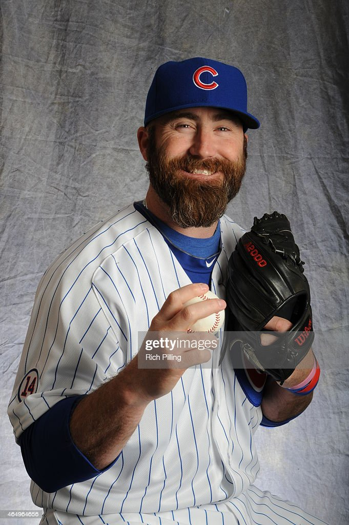 Jason Motte of the Chicago Cubs poses for a portrait during Photo Day on March 2 2015 at Sloan Park in Mesa Arizona