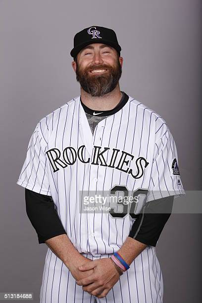 Jason Motte of the Colorado Rockies poses during Photo Day on Monday February 29 2016 at Salt River Fields at Talking Stick in Scottsdale Arizona