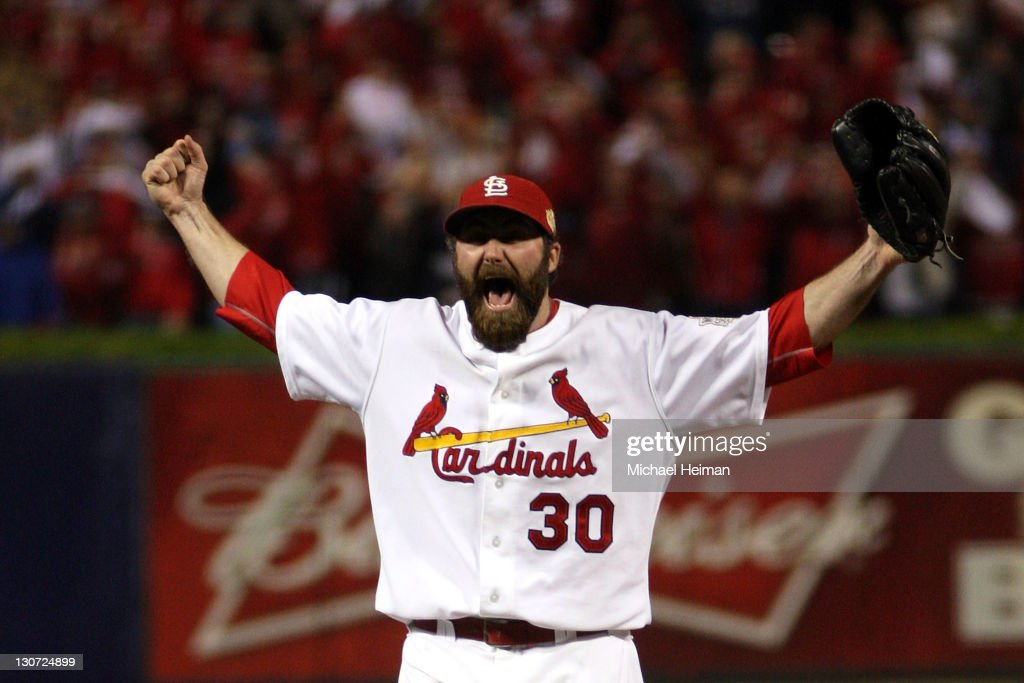 Jason Motte of the St Louis Cardinals celebrates after defeating the Texas Rangers 62 to win the World Series during Game Seven of the MLB World...