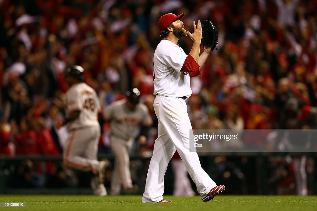 <a gi-track='captionPersonalityLinkClicked' href=/galleries/search?phrase=Jason+Motte&family=editorial&specificpeople=803364 ng-click='$event.stopPropagation()'>Jason Motte</a> #30 of the St. Louis Cardinals celebrates the Cardinals 3-1 victory against the San Francisco Giants in Game Three of the National League Championship Series at Busch Stadium on October 17, 2012 in St Louis, Missouri.