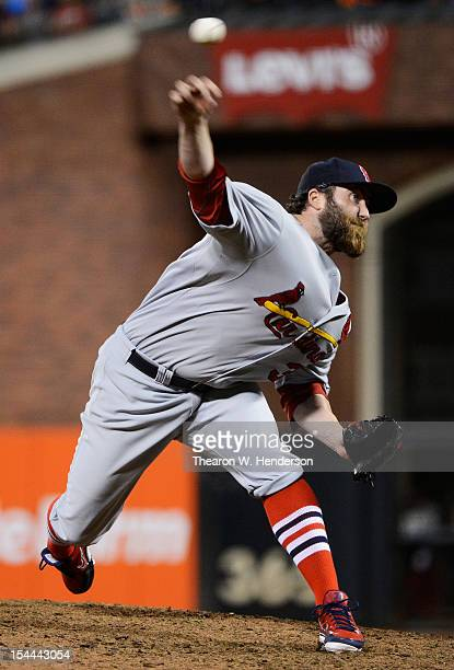 Jason Motte of the St Louis Cardinals pitches during Game One of the National League Championship Series against the San Francisco Giants at ATT Park...