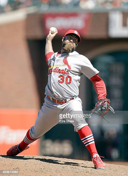 Jason Motte of the St Louis Cardinals ptches against the San Francisco Giants at ATT Park on July 3 2014 in San Francisco California