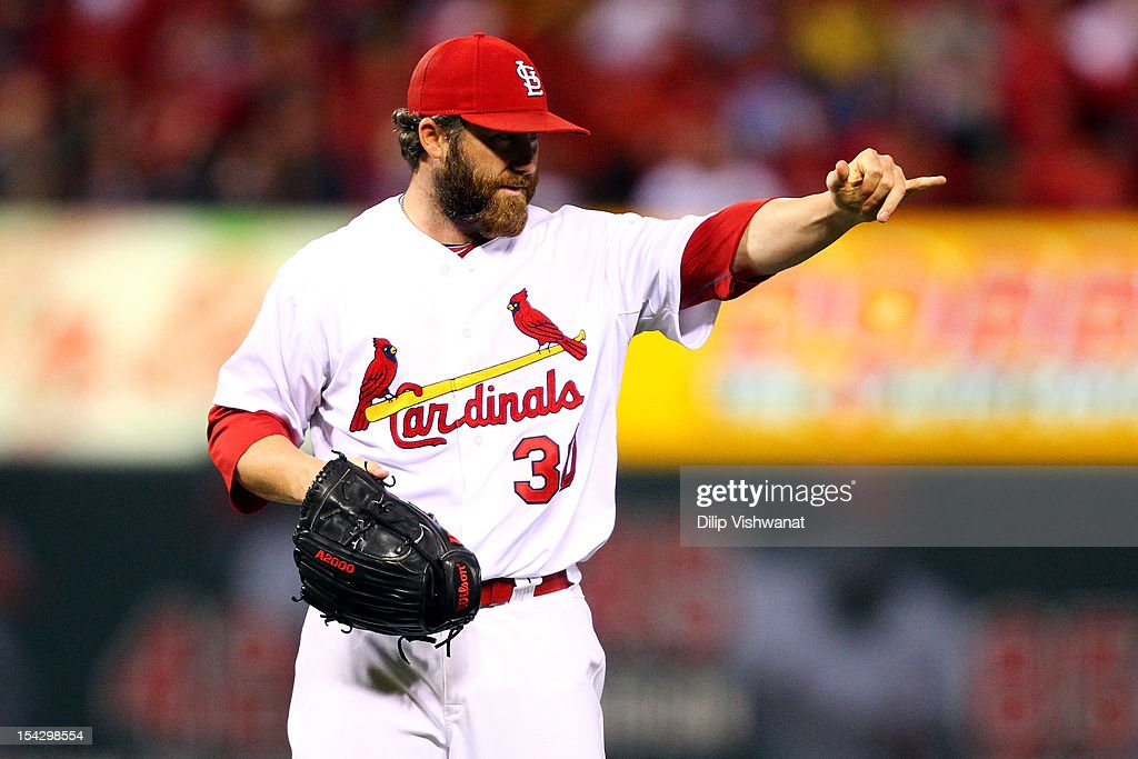 <a gi-track='captionPersonalityLinkClicked' href=/galleries/search?phrase=Jason+Motte&family=editorial&specificpeople=803364 ng-click='$event.stopPropagation()'>Jason Motte</a> #30 of the St. Louis Cardinals reacts in the eighth inning while taking on the San Francisco Giants in Game Three of the National League Championship Series at Busch Stadium on October 17, 2012 in St Louis, Missouri.