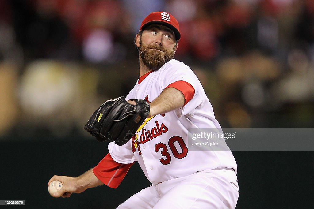 Jason Motte of the St Louis Cardinals throws apitch against the Milwaukee Brewers during Game Five of the National League Championship Series at...
